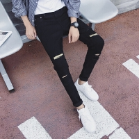 新款2018男士裤子夏季春夏夏季薄款牛仔裤男士弹力修身小脚裤潮流