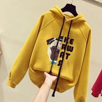 黄色卫衣女短款加绒加厚2018冬季新款韩版修身连帽套头港味上衣潮
