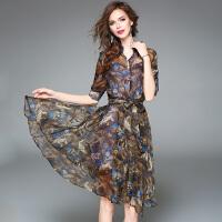 欧美女装夏新款印花雪纺连衣裙套装中长款收腰显瘦A字裙