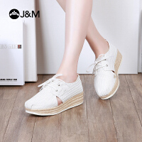 jm快乐玛丽新款厚底增高系带舒适麻底坡跟休闲鞋女鞋子