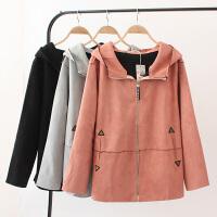 大码女装秋冬季女装新品韩版夹克外套洋气麂皮绒气质风衣修身外套