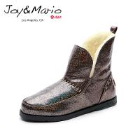 【低价秒杀】jm快乐玛丽女鞋加绒保暖平底雪地靴女短靴冬季潮靴短筒棉鞋61783W