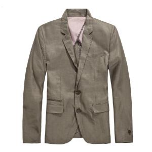思莱德春季男士商务休闲个性两粒扣亚麻西服6-2-2-413208015124