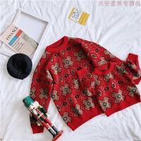 亲子装2018冬装新款潮母女装毛衣套头加厚复古红新年圣诞款针织衫 红色