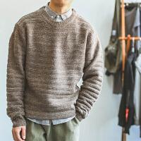 复古冬季纯色套头圆领横条纹男士毛衣收口袖针织衫潮