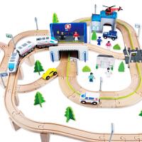 木制轨道赛车电动小火车路轨轨道电动木质火车轨道儿童益智玩具