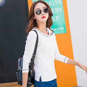 春季新款上衣白色打底衫女长袖t恤修身显瘦棉质百搭大码体恤