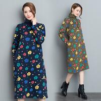 春装新款连衣裙民族风复古印花夹棉保暖中长款高领波点打底裙
