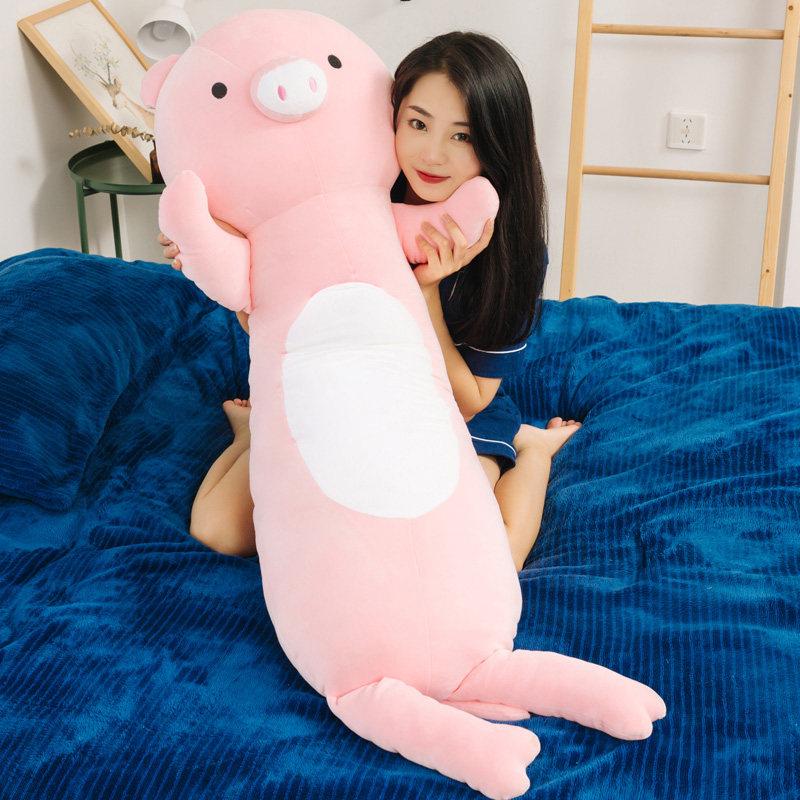 兔子毛绒玩具娃娃公仔猪猪睡觉抱枕女孩床上可爱玩偶软长条枕男生 独立内胆可拆洗羽绒棉填充品质保证亲肤