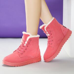 冬季新品2016冬季新款雪地靴女中筒糖果色女靴休闲女鞋女士马丁靴子hi38FB