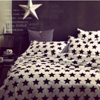 时尚简约黑白床上四件套星星床单被套黑色棉床上用品三件套家纺