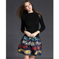 欧美女装秋冬新款针织拼接提花弹力Dress修身a字裙长袖连衣裙
