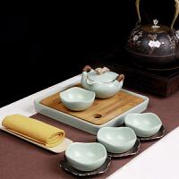 汝窑陶瓷功夫茶具4人旅行便携带喝茶品茗杯现代简约家用茶杯茶壶