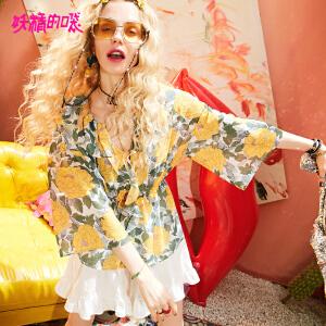 妖精的口袋蕾丝上衣2018新款超仙v领宽松气质chic雪纺衫女