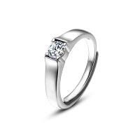 S925纯银戒指简约女款男士求婚情侣仿真钻戒渡白金银饰品活口开口