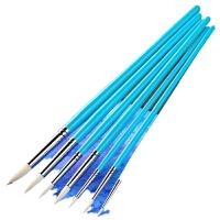 尼龙水彩画笔套装 狼毫尖头勾线笔水粉笔初学者手绘笔油画丙烯颜料画笔美术笔7支装画画套装的