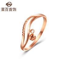 菜百首饰K金戒指柔美线条波纹戒指玫瑰金18K金戒指女