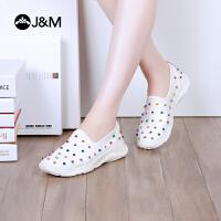 jm快乐玛丽春秋季铆钉平底运动小白鞋套脚舒适休闲女鞋子