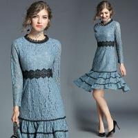 欧洲站秋装新款女装裙子长袖修身气质名媛蕾丝连衣裙中长款
