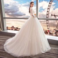 婚纱礼服2018新款新娘结婚公主宫廷复古显瘦拖尾立领长袖齐地2018