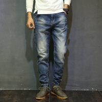 牛仔裤男士夏季哈伦裤男复古青少年弹力小脚裤宽松大码长裤子