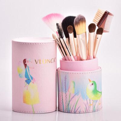 11支装化妆刷套装刷子美妆刷粉刷化妆工具刷子美妆用品全套初学者惊喜的美妆礼物节日礼品新年礼物 11支刷桶装 其它材质