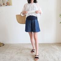 孕妇牛仔短裤女宽松打底托腹孕妇裤子夏薄款外穿夏装2019新款时尚M 牛仔蓝