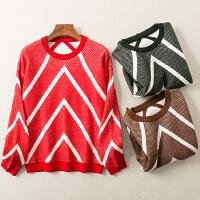 秋冬装新款圆领时尚百搭英伦套头打底针织衫