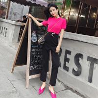2018夏装新款韩版气质时尚纯色百搭T恤+小脚哈伦裤直筒烟管裤套装