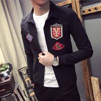 新款秋装薄款小外套青少年修身徽章刺绣长袖紧身衬衣个性潮男衬衫