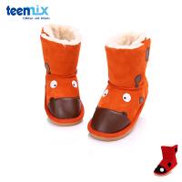 百丽天美意童鞋男童皮靴女童加绒雪地靴公主靴中筒靴 DX0112