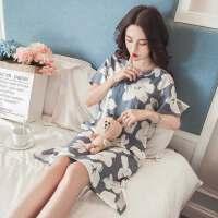 家居服睡衣女夏短袖纯棉宽松韩版清新学生孕妇睡裙女夏可外穿