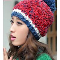 女秋冬天韩版毛线帽子保暖超手感可爱女士大球球针织帽