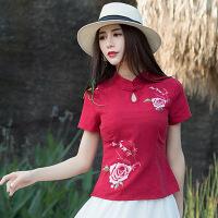 民族风t恤2018夏装新款中国风改良绣花旗袍小上衣棉麻短款唐装女