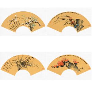 《梅兰竹菊》精品国画扇面四条屏一套【真迹1018】