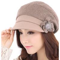 女秋冬天韩版 新款帽子加厚羊毛呢 贝雷帽潮时尚显瘦脸女