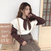 韩版复古蝴蝶结系带格子拼接长袖衬衣女2018冬装新款学生打底衬衫