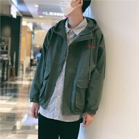 新款2018秋季韩版青少年宽松版型小清新字母刺绣连帽外套夹克男装