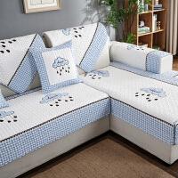 简约现代客厅组合实木沙发垫布艺四季通用防滑沙发套罩巾