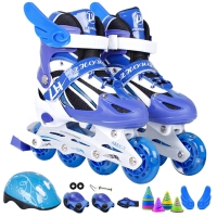直排溜冰鞋儿童可调男童女童闪光轮滑鞋全套旱冰鞋初学者
