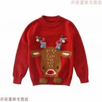 儿童毛衣 男童羊绒衫红色女童针织套头圆领针织衫 卡通圣诞驯鹿 红色