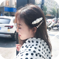 网红夹子头饰ins仿珍珠发夹bb夹韩国刘海边夹发卡一字夹成人顶夹