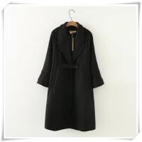 纯色新款女装显瘦外套九分袖妮子大码百搭中长款毛呢胖大衣冬