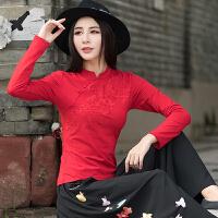 秋装新款 中国风女装刺绣上衣民族风绣花立领盘扣长袖修身T恤