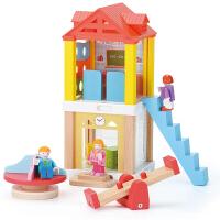 学校组合屋娃娃房子过家家玩具 儿童2--6周岁男女孩礼物积木拼装