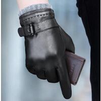 男冬男士季加厚保暖简约头层羊皮商务开车真皮手套