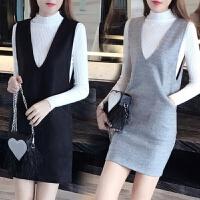秋冬中长款背带裙毛衣两件套长袖毛呢连衣裙女 灰色(9022#两件套) 西街网购