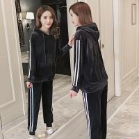 孕妇装2018秋冬装新款韩版加绒孕妇托腹裤运动两件套套装