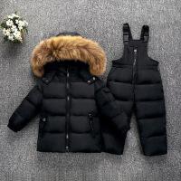 宝宝羽绒服套装女1-3岁冬婴儿儿童背带裤两件套女童加厚男童5