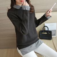 中长款套头毛衣女假两件韩版宽松方领打底针织衫春装新款上衣潮 深灰色